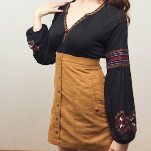 Autumn Stitched Peasent Blouse